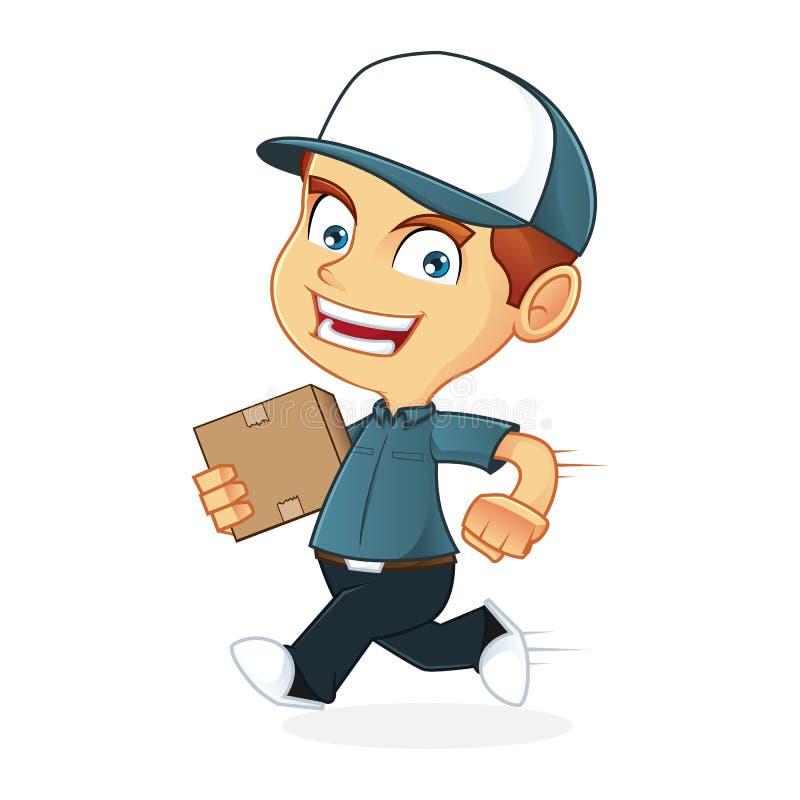Delivery Man delivering package fast royalty free illustration