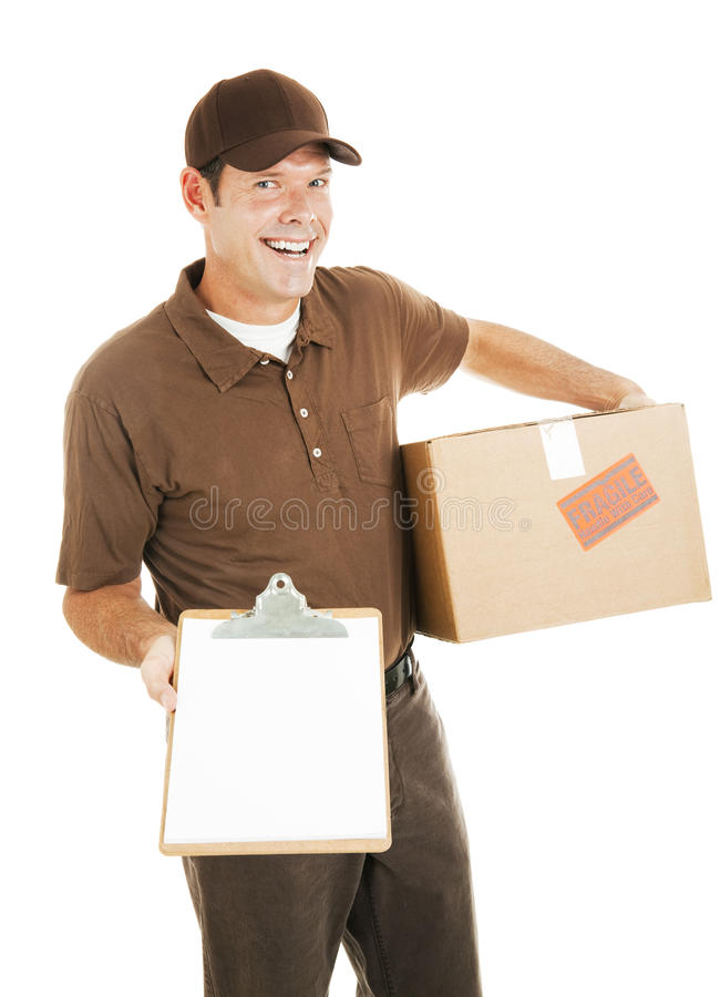 Delivery Man with Clipboard royalty free stock images