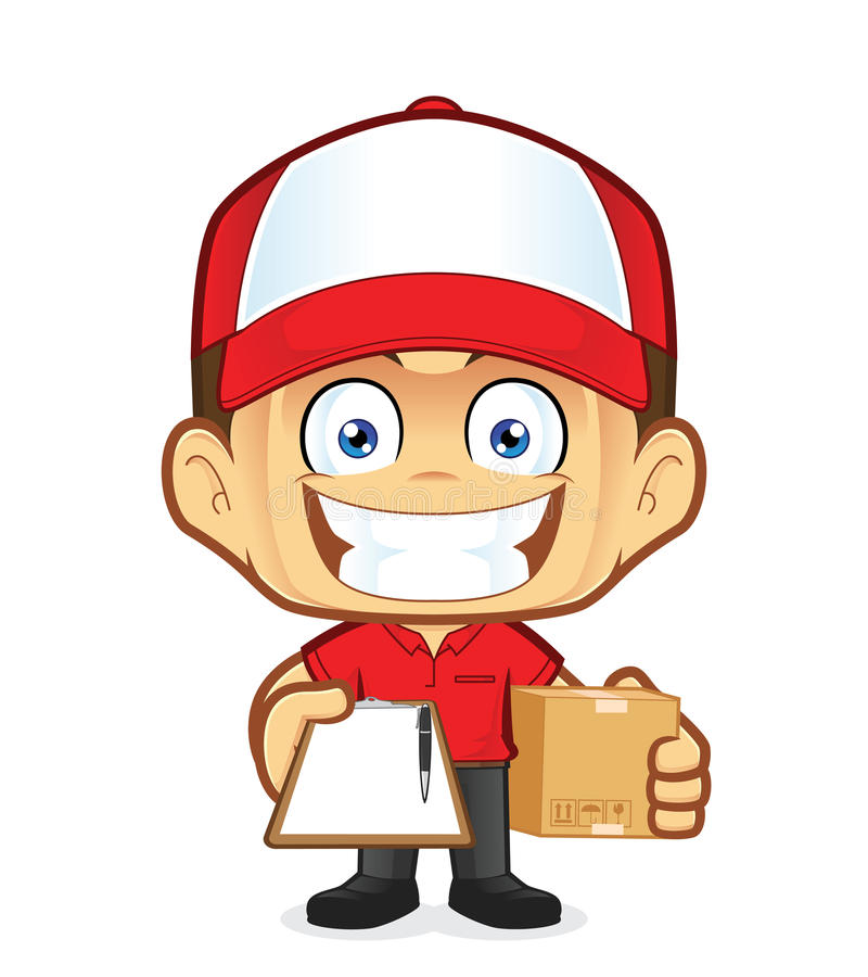 Delivery man courier holding a box and clipboard. Clipart picture of a delivery man courier cartoon character holding a box and clipboard vector illustration