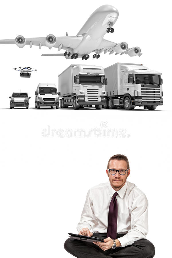 Delivery man and 3d background royalty free stock images