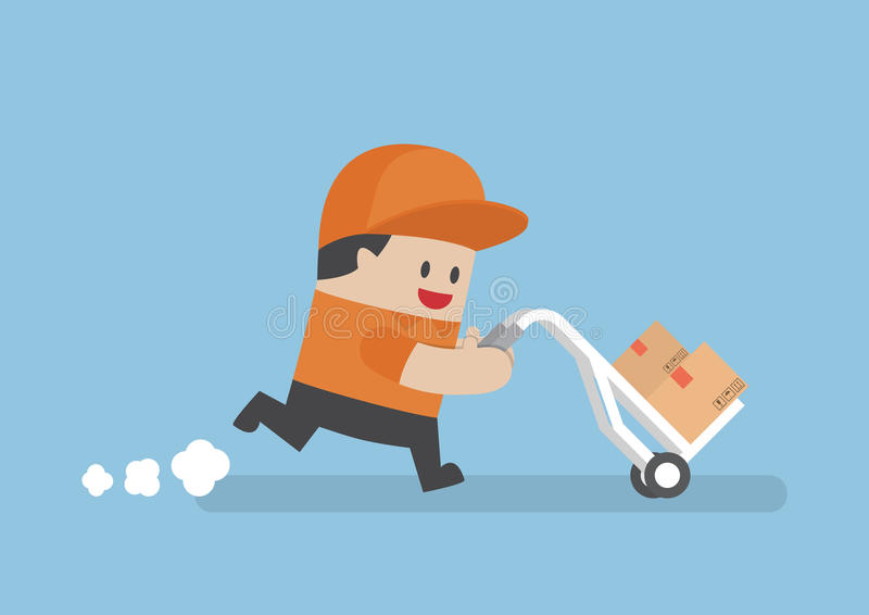 Delivery man delivering cardboard boxes by cart royalty free illustration