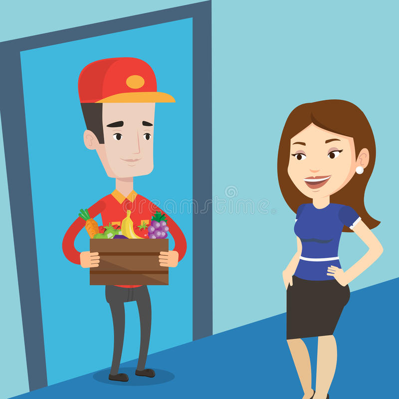 Delivery man delivering groceries to customer. Delivery man delivering online grocery shopping order. Woman receiving groceries from delivery man at home. Man stock illustration