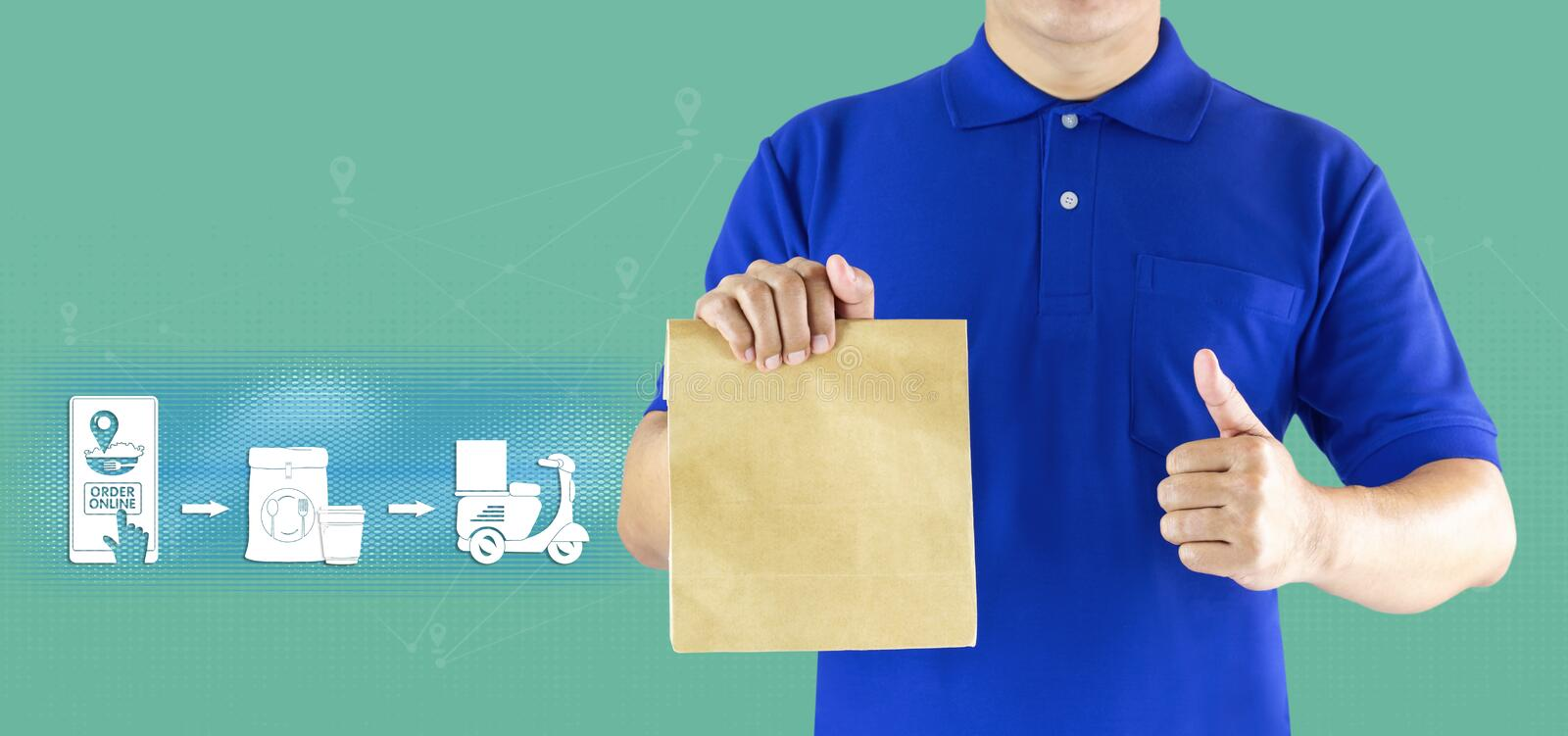 Delivery man hand holding paper bag in blue uniform and icon media for delivering package order online fast food delivery service. By motorcycle or express royalty free stock image