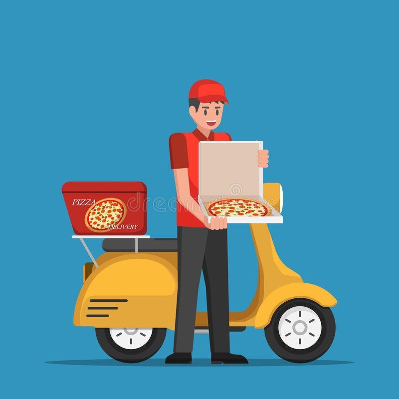 Delivery man handling pizza box to customer. Delivery man handling pizza box to customer by scooter vector illustration