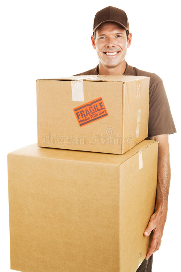 Delivery Man with Heavy Boxes stock photo