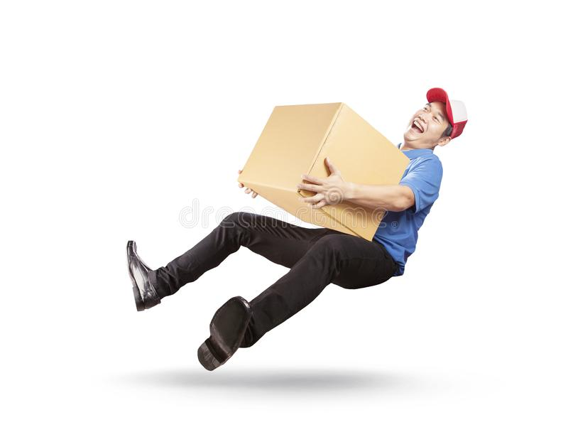 delivery man holding cardbox with happiness service mind islated white background stock images