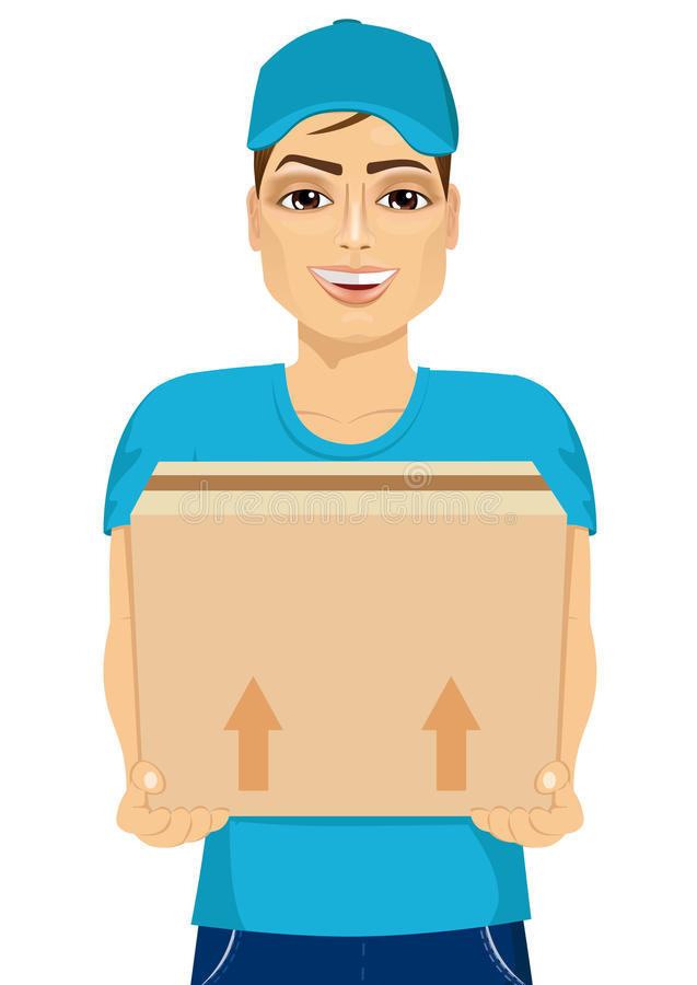 Delivery man holding and carrying a cardbox stock illustration