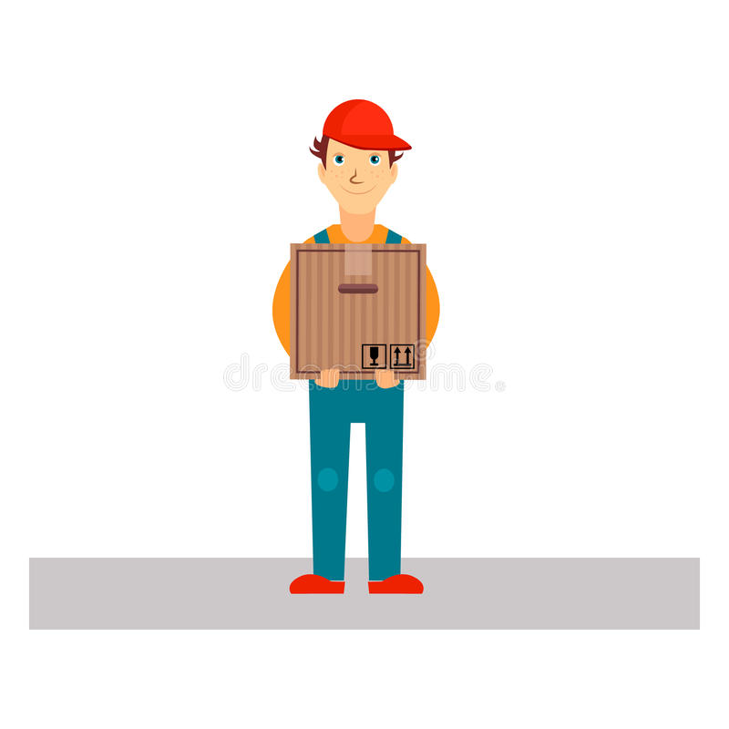 Delivery Man Holding Package, Vector Illustration stock illustration