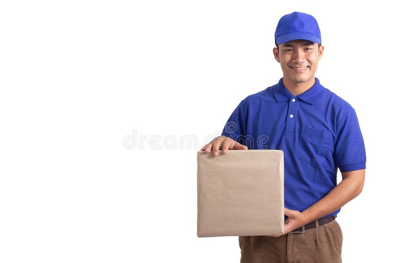 Delivery man holding parcel box isolated on white background royalty free stock photos