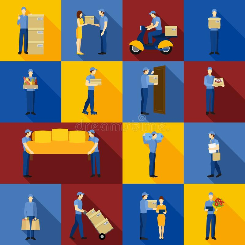 Delivery Man Icons Set stock illustration