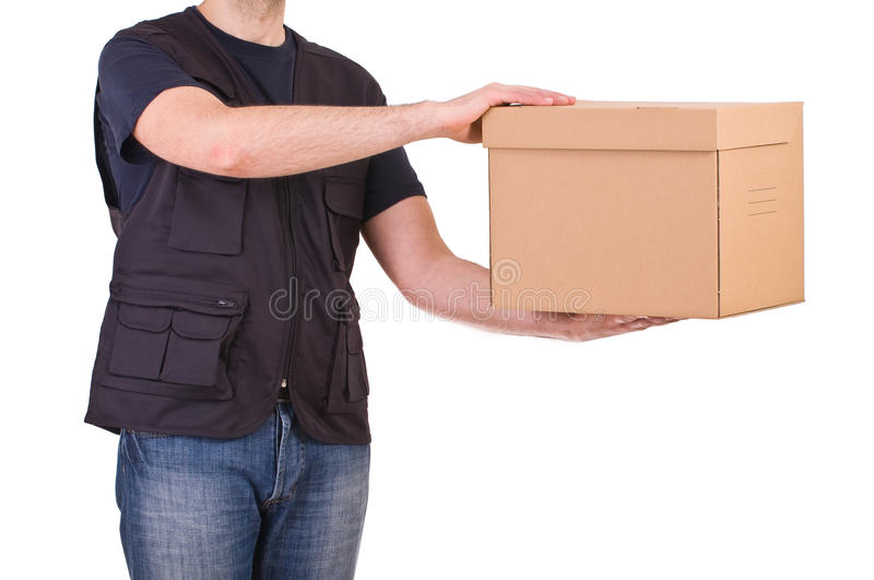 Delivery man. Image of a delivery man with package royalty free stock photography