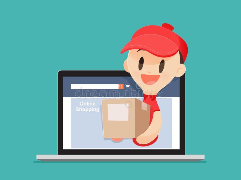 Delivery Man, Online Shopping vector illustration