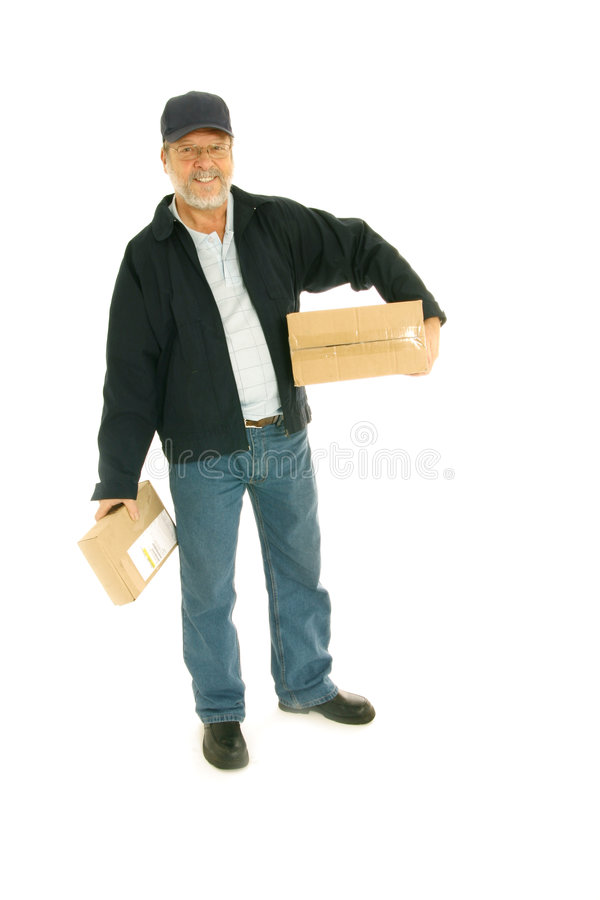Delivery man with parcels royalty free stock image