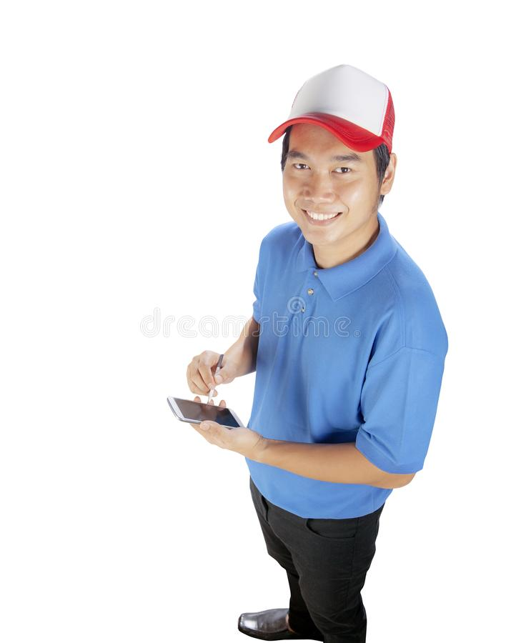 Delivery man ready to writing job list on smart phone isolated w stock photos