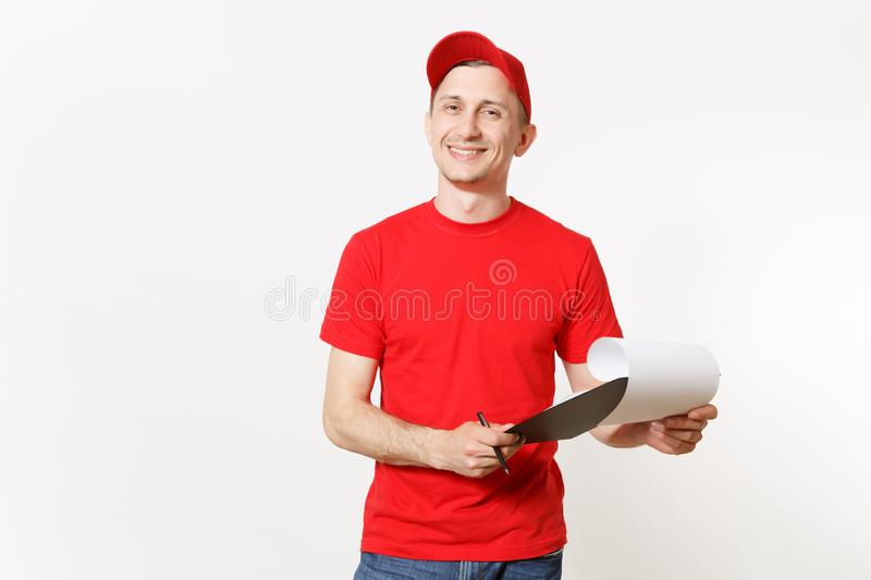 Delivery man in red uniform isolated on white background. Male in cap, t-shirt working as courier or dealer, holding pen. Clipboard with papers, filling royalty free stock photo