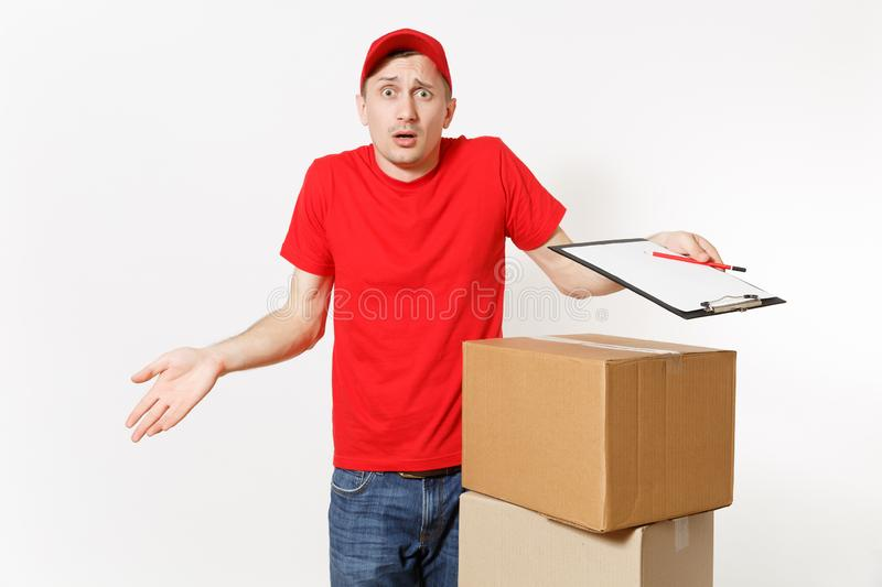 Delivery man in red uniform isolated on white background. Male courier in cap, t-shirt holding pen, clipboard with. Papers document, blank empty sheet royalty free stock photo