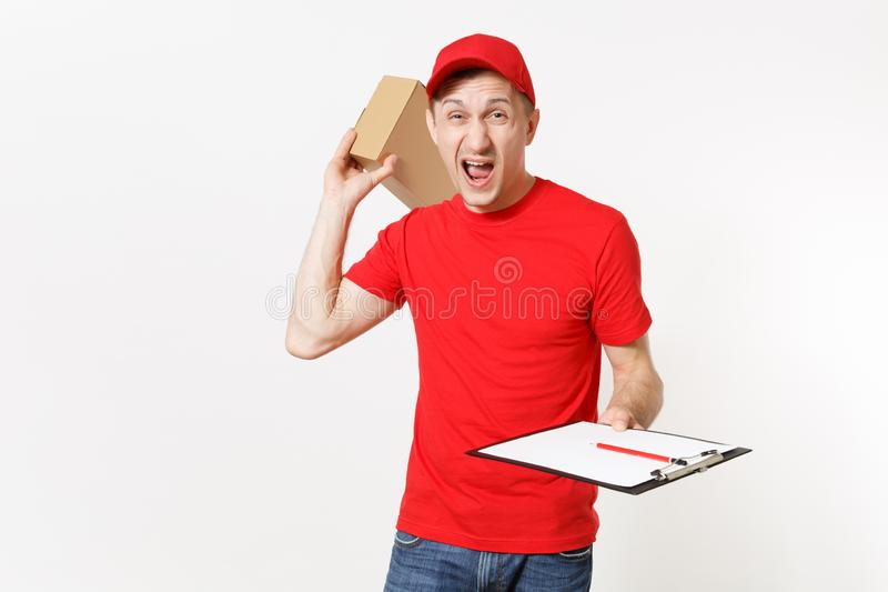 Delivery man in red uniform isolated on white background. Male courier in cap, t-shirt holding pen, clipboard with. Papers document, blank empty sheet stock photo