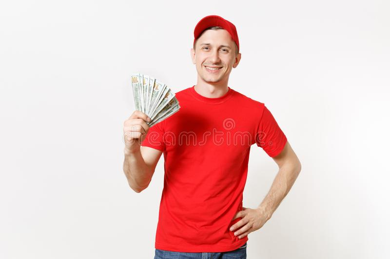 Delivery man in red uniform isolated on white background. Professional smiling male in cap, t-shirt working as courier. Delivery man in red uniform isolated on royalty free stock images