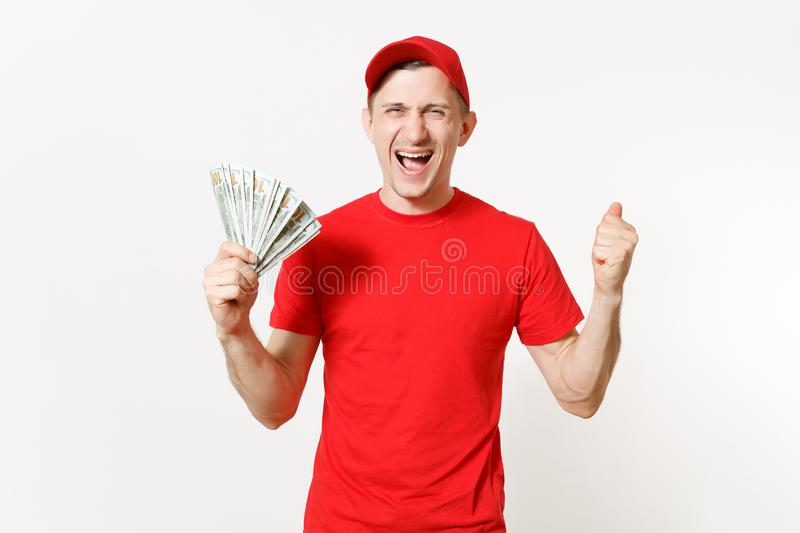 Delivery man in red uniform isolated on white background. Professional smiling male in cap, t-shirt working as courier. Delivery man in red uniform isolated on stock images