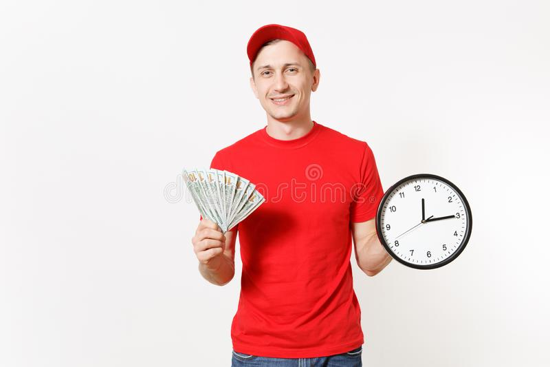 Delivery man in red uniform isolated on white background. Smiling male in cap, t-shirt, jeans working as courier or. Dealer, holding bundle of dollars cash royalty free stock photos