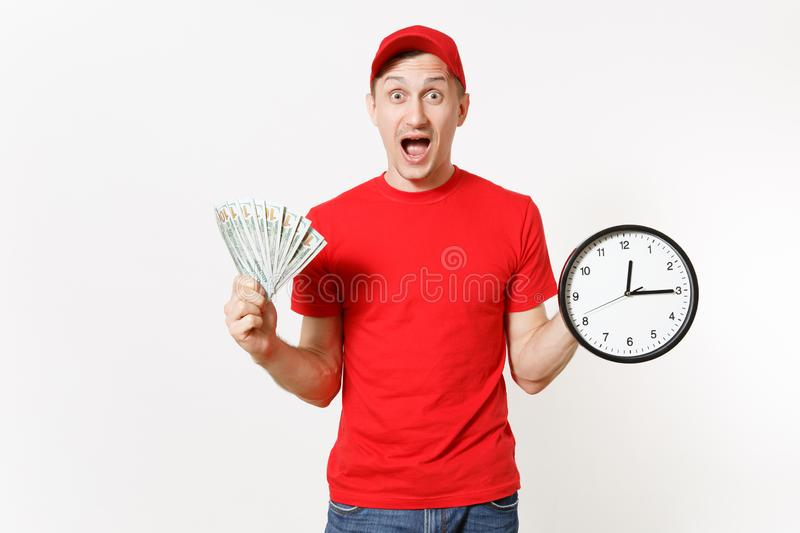 Delivery man in red uniform isolated on white background. Smiling male in cap, t-shirt, jeans working as courier or. Dealer, holding bundle of dollars cash royalty free stock images