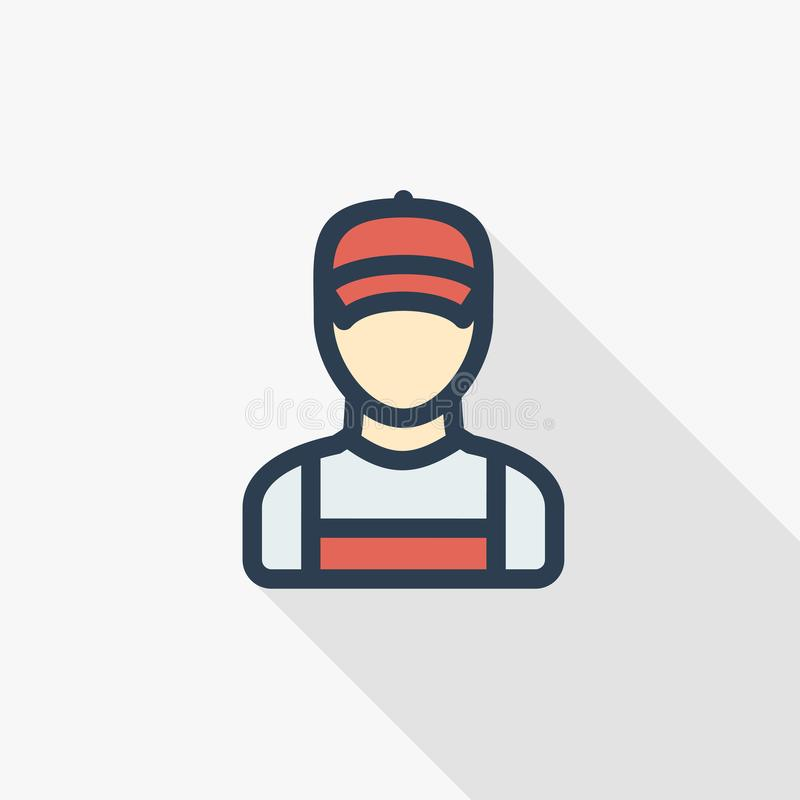 Delivery man in red uniform thin line flat color icon. Linear vector symbol. Colorful long shadow design. Delivery man in red uniform thin line flat color icon royalty free illustration