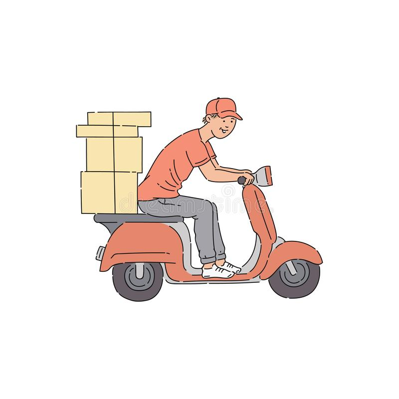 Delivery man riding scooter with boxes vector illustration