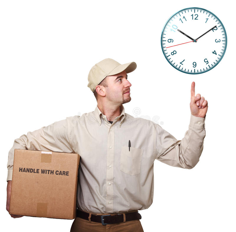 Delivery man and time royalty free stock images