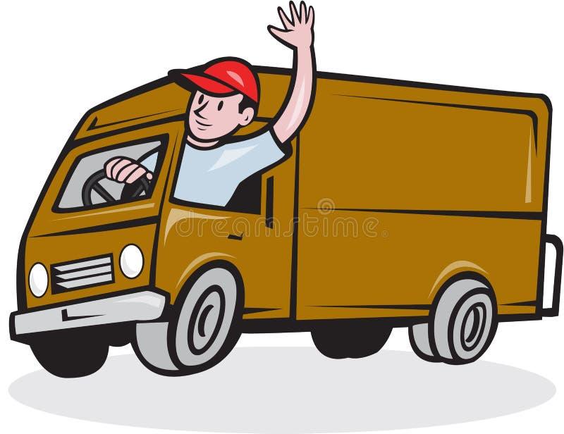 delivery man waving driving van cartoon stock vector - illustration