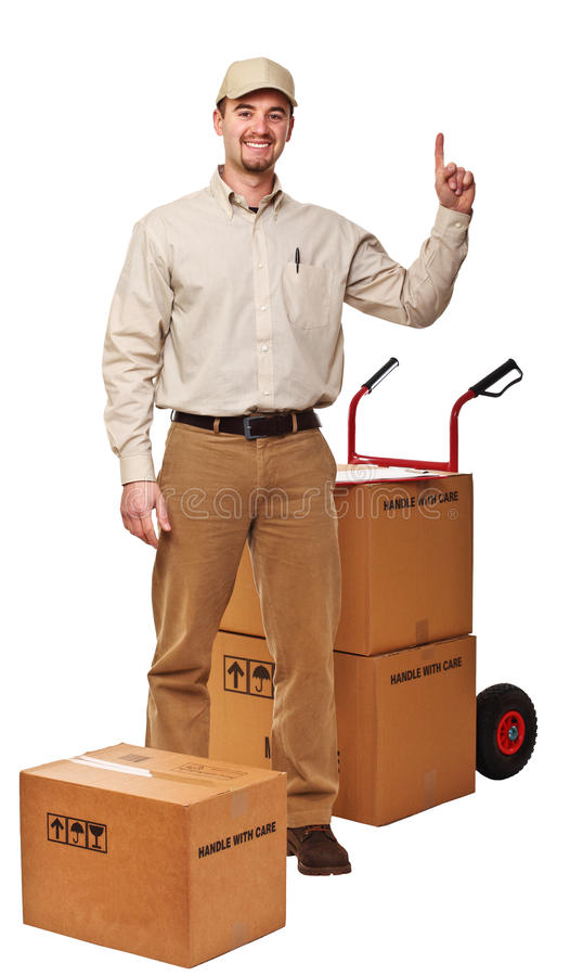 Delivery man on white royalty free stock photos