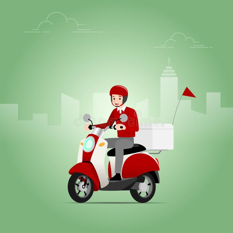 The delivery man who wear a helmet riding a scooter, motorcycle, to send the goods from the shipping company to deliver to the cus. Tomers quickly and accurately stock illustration