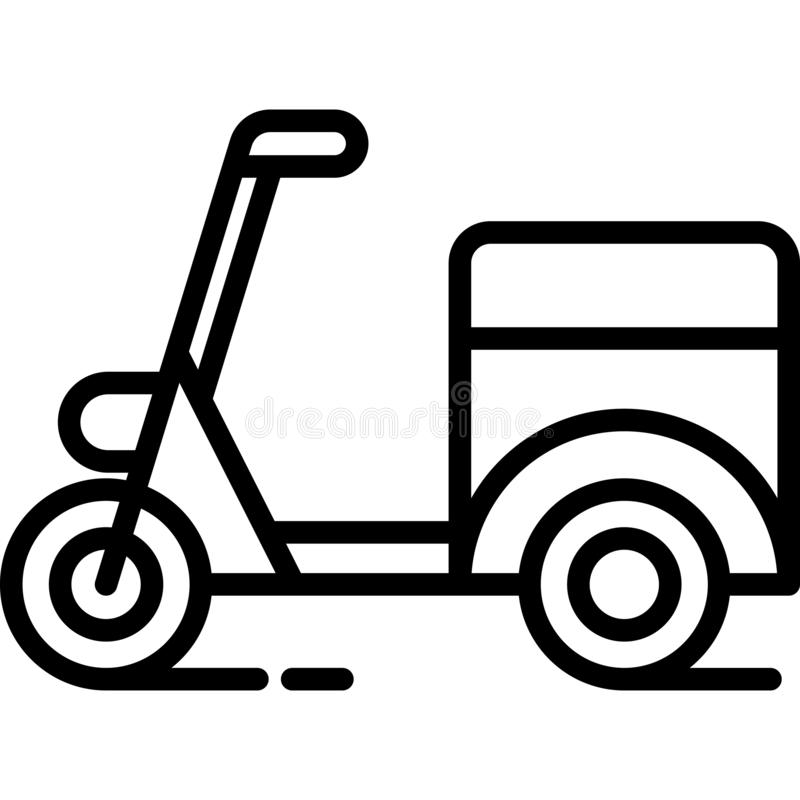 Delivery Moped Icon Vector. This vector image shows a delivery moped icon in glyph style. It is isolated on a white background vector illustration