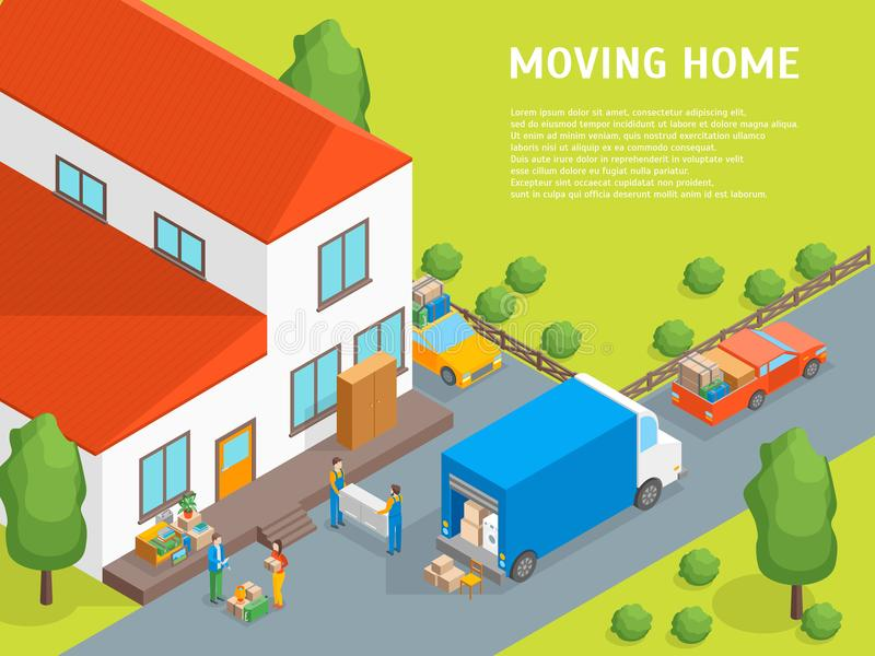 Delivery Moving Card Poster Concept 3d Isometric View. Vector stock illustration
