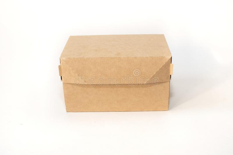 Delivery, moving, package and recycling concept. Closed cardboard box isolated on white background. mock up stock images