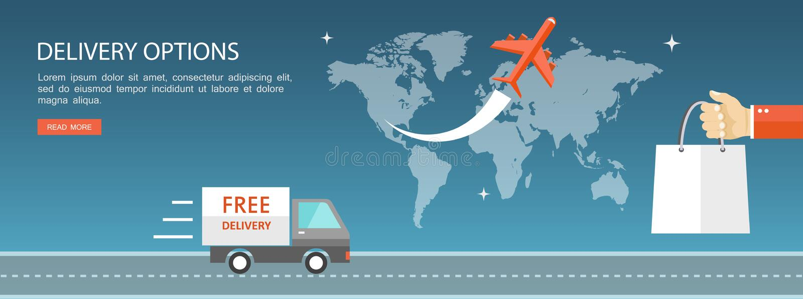 Delivery options flat illustration stock photo