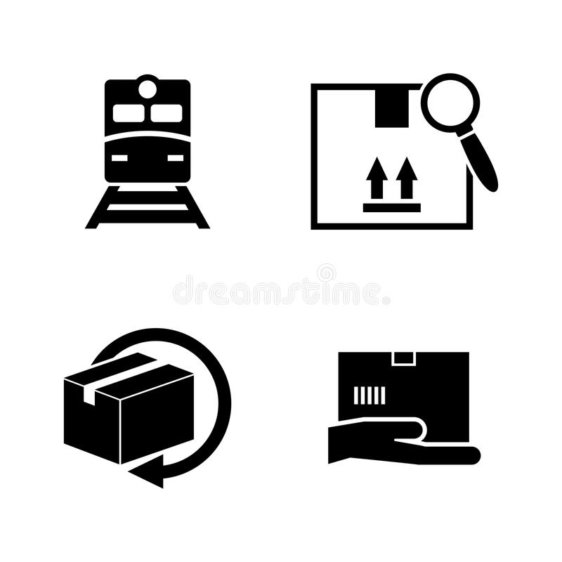Delivery order. Simple Related Vector Icons. Set for Video, Mobile Apps, Web Sites, Print Projects and Your Design. Black Flat Illustration on White Background royalty free illustration