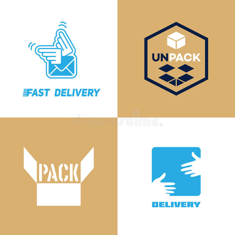 Delivery and pack logo royalty free illustration