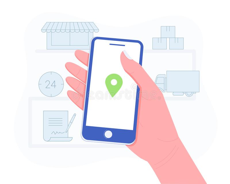 Delivery, package or order tracking concept. Hand holding a smartphone with map mark. Concept of free, fast delivery, shipping. Trendy flat style. Vector stock illustration