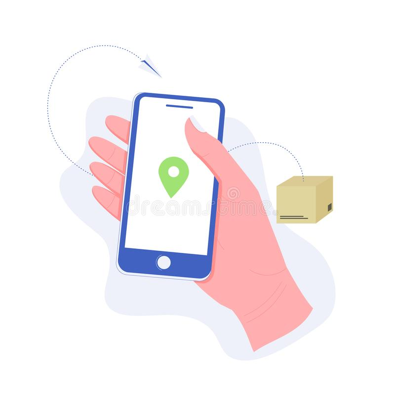 Delivery, package or order tracking concept. Hand holding a smartphone with map mark. Concept of free, fast delivery, shipping. Trendy flat style. Vector vector illustration