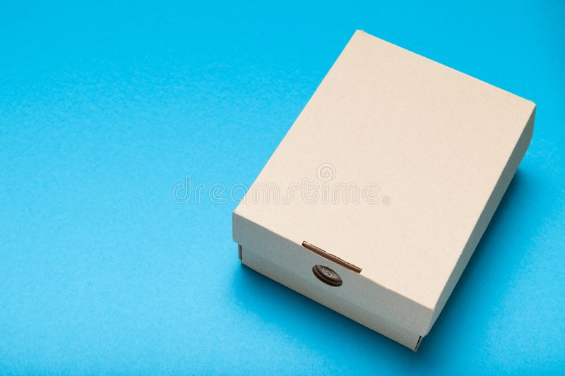 Delivery package, shipment concept. Post cardboard box mockup. Copy space for text.  stock photography