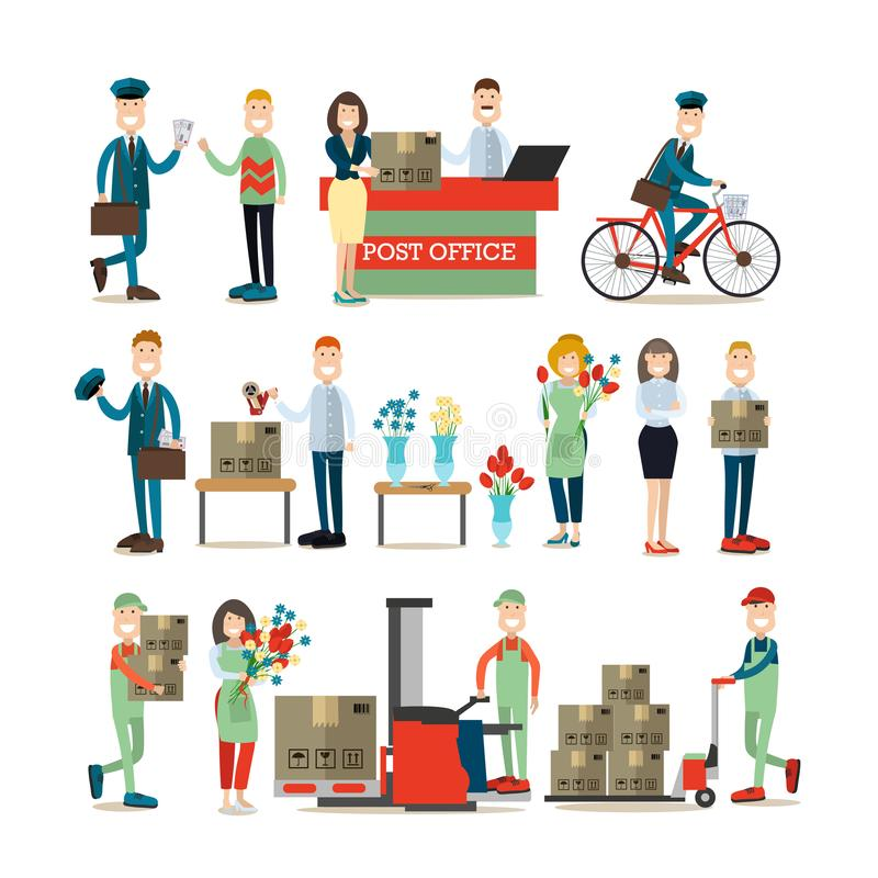 Delivery people concept vector illustration in flat style stock illustration