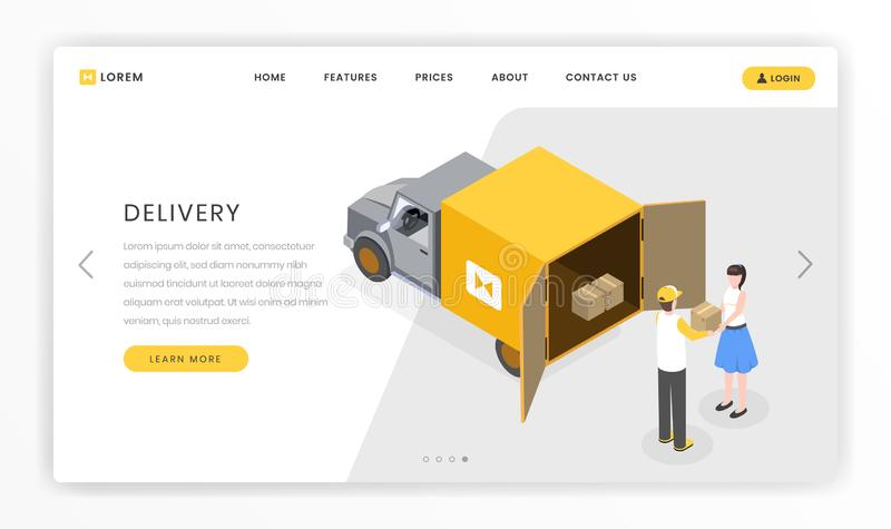 Delivery, postal services landing template. Courier delivering parcels, boxes to customers by truck vector illustration. Delivery, courier services landing vector illustration