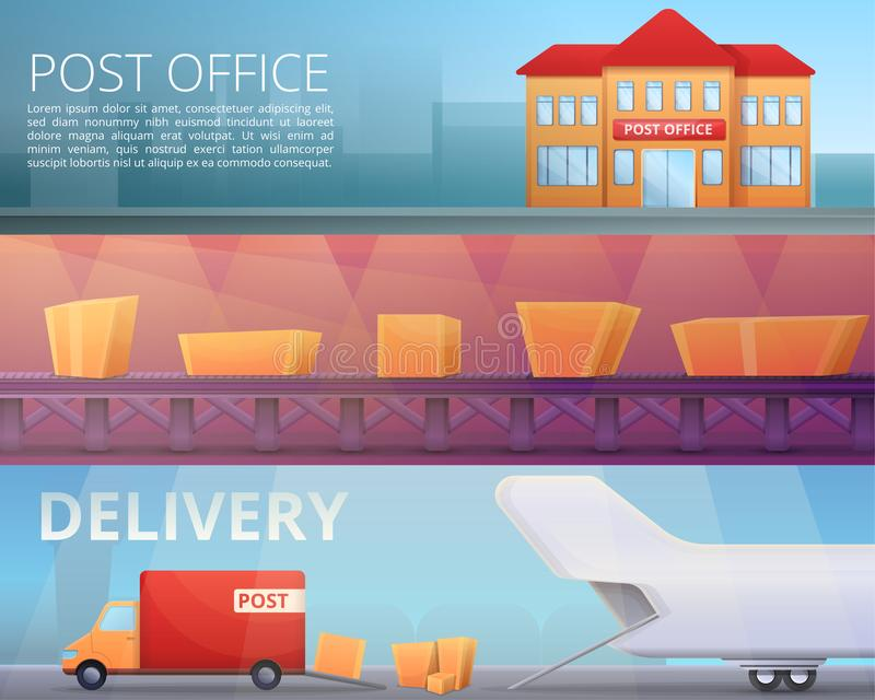 Delivery postman banner set, cartoon style royalty free illustration