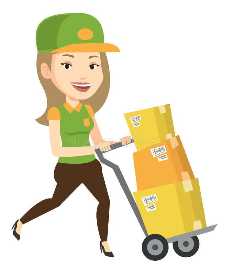 Delivery postman with cardboard boxes on trolley. Young delivery postman with cardboard boxes on trolley. Delivery postman pushing trolley with boxes. Delivery stock illustration