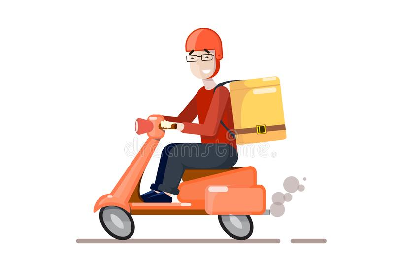 Delivery by scooter. Cartoon style. Vector cartoon illustration. Food service vector illustration