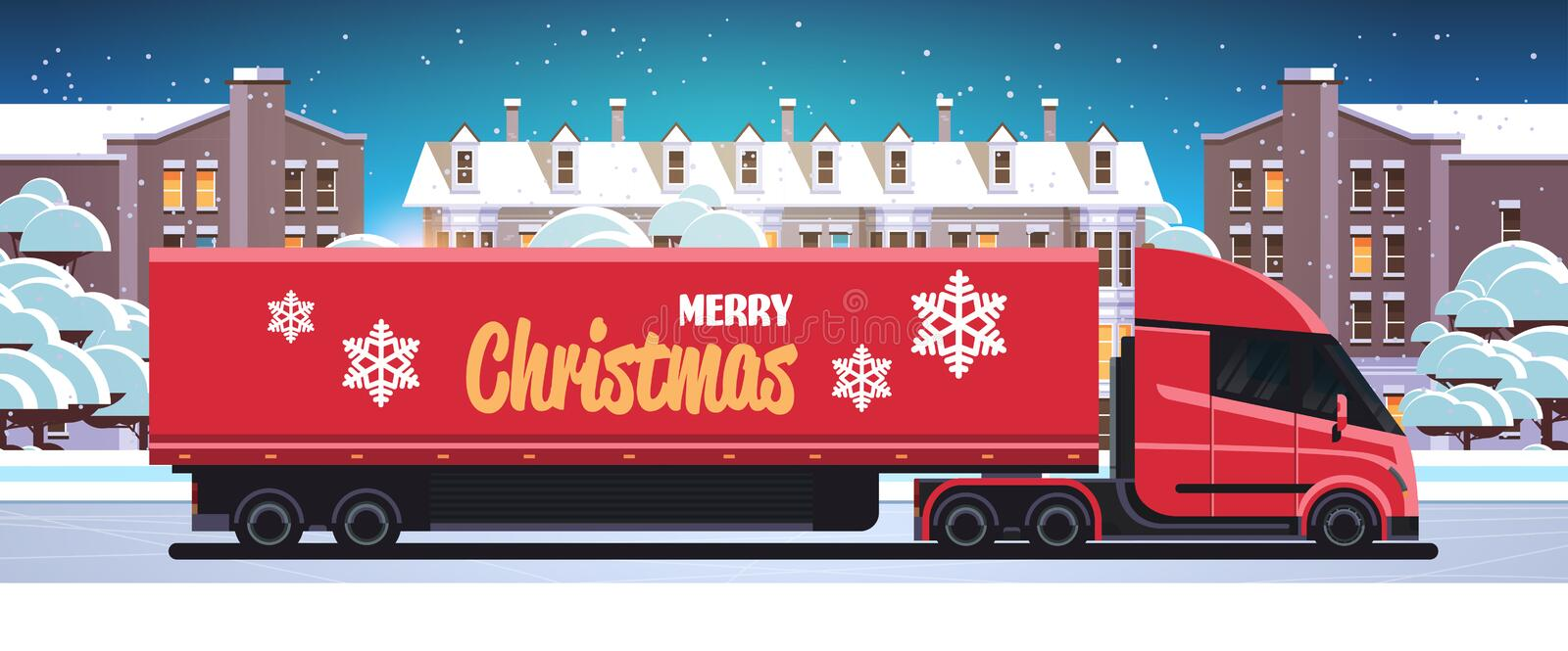 Delivery semi truck driving city street shipping transport for merry christmas happy new year winter holidays. Celebration concept horizontal snowy cityscape royalty free illustration