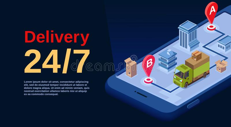 Delivery service app vector isometric illustration stock illustration