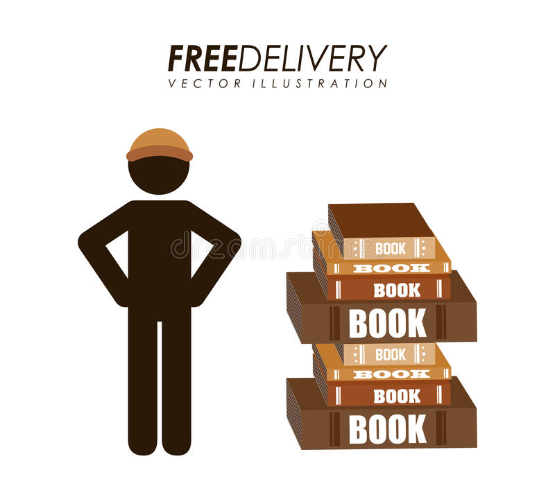Delivery service books vector illustration