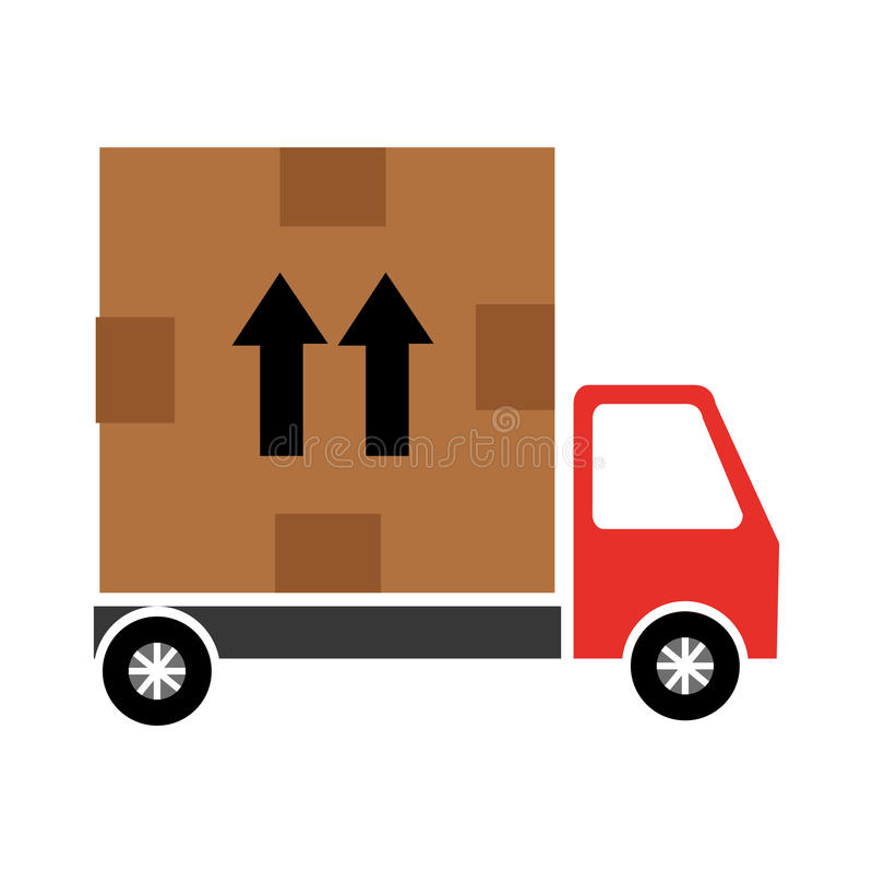 Delivery service with box vector illustration
