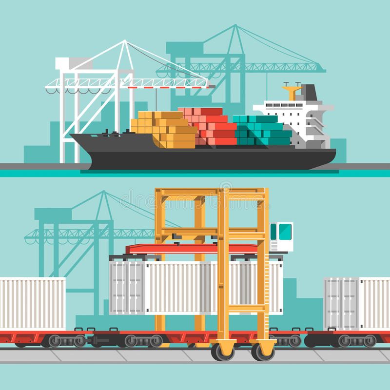 Delivery service concept. Container cargo ship loading, truck loader, warehouse. Flat style vector illustration royalty free illustration